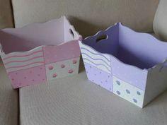 caja organizadora multiuso para bebé, madera pintada a mano!