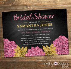 Chalkboard Bridal Shower Invitation, Floral, Pink, Gold, Flowers, Vintage, Chalk, Wedding Shower Invite, Glitter (PRINTABLE FILE) by InvitingDesignStudio on Etsy