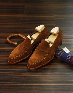 Suede loafers.