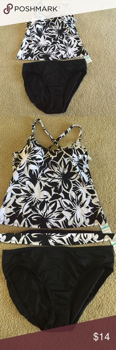 NWT Black & white  tankini!  Jantzen plus Jantzen NWT black and white tankini. Top is a black and white floral bottoms are black! Multiple sizes! Top is padded with adjustable straps that can be tank or racerback! SKUs may not be same number, but do match and same brand! Jantzen Swim Bikinis