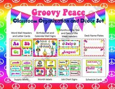 Groovy Peace Classroom Organization and Decor Set