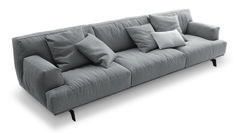 Poliform_Tribeca sofa with removable fabric covering, bronze painted base. Tribeca interprets the sofa through its soft feather padding and large surfaces, which appear light thanks to the metal frame.