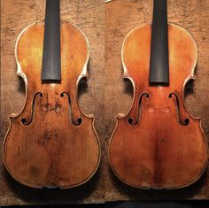 Bros. Amati, 1607 on the left and a J.B. Vuillaume, Amati copy from 1847 on the right. #amati #vuillaume #copy #luthier #liuteria #lovemyjob #violin