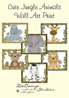 CUTE JUNGLE ANIMALS Wall Art Prints Baby Boy Nursery Kids Zoo Room Childrens Safari Bedroom Monkey Elephant Zebra Giraffe Playroom Decor #decampstudios #gift