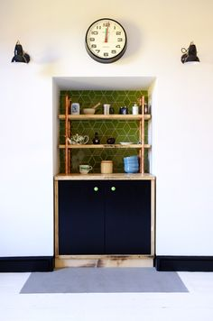 reclaimed timber, mid century, kitchen design ideas, plywood, sterling board, black stain, retro tiling, 1950s kitchen, 1970s kitchen, industrial kitchen, made in London UK