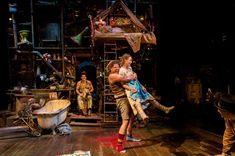 Rhys Rusbatch as Peter Pan, Charlotte Mills as Tink, Douggie McMeekin as Curley and Mariah Gale as Wendy in Wendy & Peter Pan