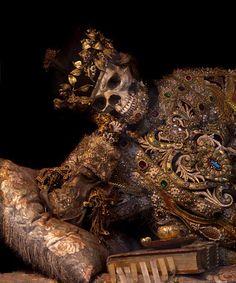 The elaborately dressed skeleton of St Valentine can be found in a Cistercian nunnery in Bavaria called Waldassen Abbey. (Photo by Toby de Silva). He looks bored to death.