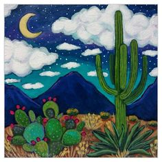 Acrylic on flat hardboard panel. Cactus Drawing, Cactus Art, Cactus Plants, Mexican Paintings, Night Sky Painting, Desert Art, Sharpie Art, Tree Wall Art, Sky Art