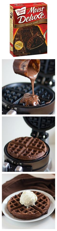 I MUST go buy a waffle maker! Cake Mix Waffles Mix, Cook in Waffle Iron. Top with Ice Cream, use for Strawberry Shortcake, -Great idea for Birthday Waffles! A treat for breakfast or snack. Could use cake mix and tint colors for themes. Just Desserts, Dessert Recipes, Waffle Desserts, Crepe Recipes, Drink Recipes, Waffle Maker Recipes, Waffle Toppings, Pie Iron Recipes, Pancake Recipes