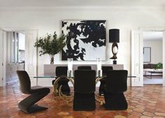Saltillo tile with glamorous accents via http://delightbydesign.blogspot.com/2013/01/a-fresh-start.html