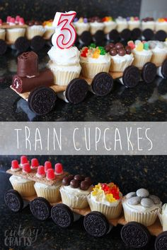 Train Cupcakes & Make a cupcake train for your train birthday party! Train Cupcakes & Make a cupcake train for your train birthday party! The post Train Cupcakes & Make a cupcake train for your train birthday party! appeared first on Birthday. Thomas The Train Birthday Party, Trains Birthday Party, Train Party, 3rd Birthday Parties, Birthday Ideas, Birthday Crafts, 4th Birthday, Birthday Party Food For Kids, Party Crafts