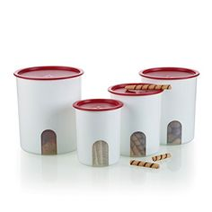 Tupperware One Touch Reminder Canister Set - Passion