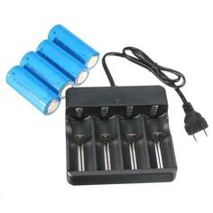 4 x 26650 3.7V 5000mAh Rechargeable Li-ion Battery + Charger