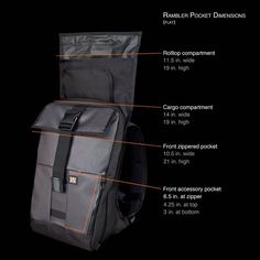 The Rambler by Mission Workshop details Mission Workshop, Laptop Storage, Man Bags, Backpacks, Pocket, Product Design, Leather, Tops, Style