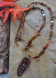 Long Wooden Necklace with Gemstone and Crystal 312 by LKArtChic