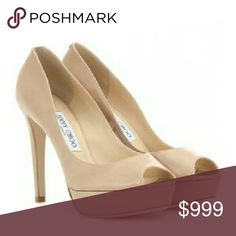 """👠HP👠 Jimmy Choo Nude Peep Toe Heels Stylish and classic. These heels are the perfect addition to your wardrobe.  These shoes are a neutral color to match any outfit, from jeans to your elegant cocktail dress.  Size 38.  They are used but still in good condition. Typical wear on soles and scuffs, and minor wear on one heel (see pic).   4"""" heel 1/2"""" platform Jimmy Choo Shoes"""