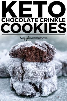 These Keto Chocolate Crinkle Cookies are a chocolate lovers dream come true! Super rich & chocolaty while healthy & keto-friendly with only 0.7g net carbs per cookie. #keto #ketodiet #ketorecipes #ketodessert #ketogenic #ketogenicdiet #lowcarb #lowcarbrecipes #lowcarbdessert #christmascookies