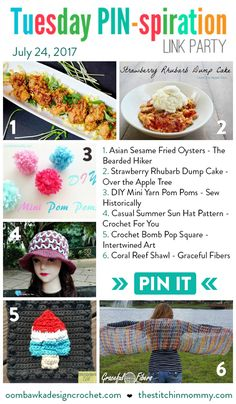 Featuring: The Bearded Hiker, Over the Apple Tree, Sew Historically, Crochet For You, Intertwined Art, and Graceful Fibers! https://oombawkadesigncrochet.com/2017/07/featured-favorites-tuesday-pin-spiration-link-party.html