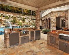 17 Stunning Covered Outdoor Kitchen Design Ideas Backyard Kitchen, Outdoor Kitchen Design, Patio Design, Kitchen Grill, Grill Design, Landscaping Design, Contemporary Patio, Contemporary Bathrooms, Covered Outdoor Kitchens
