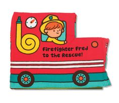 Soft Activity Book - Firefighter Fred to the Rescue: Flip the flap to help Firefighter Fred save the day! This squeaking, sliding, lift-the-flap cloth activity book from Melissa & Doug Ks Kids is packed with low-tech, high-impact novelties and is durably constructed to last through story time, playtime, and the washing machine, too!