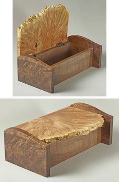 Keepsake box made from walnut burl and big-leaf maple burl.: