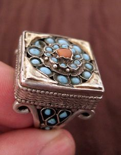 Uzbekistan   Ring; silver, silver gilt, cornelian and turquoise stones. Classic old ring   Sold