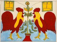 Coqs affrontés et deux drapeaux symétriques de la fédération du Mali - Paris, musée du quai Branly - années 1960