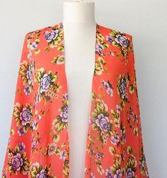 Red floral kimono, bohemian kimono, red kimono jacket, beach cover up, oversized beach wear, gypsy clothing, boho festival clothing, gift