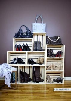 Crates are really trendy and can be a cute way to organize your shoes. You can stack them together and even keep them held in place by using large binder clips.