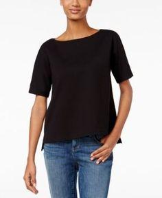 Eileen Fisher Boat-Neck Dolman-Sleeve Top - Black XL