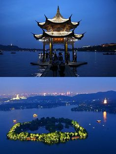 Beautiful night scenery of West Lake, Hangzhou