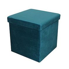 Designed with a sturdy construction and padded lid, this cube storage ottoman has been designed in a deep teal blue colour and has been crafted from velvet for . Teal Blue Color, Teal And Grey, Deep Teal, Cube Storage, Extra Storage, Closet Organization, Cleaning Wipes, Ottoman, Household