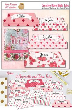 Printable Rose Creative Bible Tabs with Character Tabs. matches the KJV Creative Bible #biblejournaling