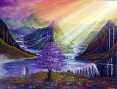 Elysian bridge Vibrant Paintings by UK based artist Ann Marie. Ann lives in beautiful Dovedale in the Peak District of Derbyshire. Ann paints mainly in What Dreams May Come, Traditional Paintings, Traditional Art, World Wallpaper, Abstract Landscape, Painting Inspiration, Film Inspiration, All Art, Fantasy Art