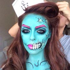 halloween makeup Halloween make-up Makeup Fx, Pop Art Makeup, Zombie Makeup, Crazy Makeup, Halloween Kostüm, Halloween Face Makeup, Halloween Costumes, Helloween Make Up, Pop Art Zombie