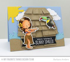 Handmade card from Barbara Anders featuring the Tiki Hut Die-namics.