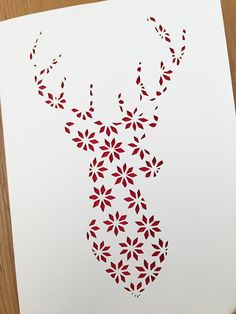 Christmas Papercut Template Reindeer Stag pattern Holiday fairisle papercutting festive cutout poinsettia COMMERCIAL USE – Christmas DIY Holiday Cards Merry Christmas Card, Xmas Cards, Holiday Cards, Christmas Crafts, Christmas Decorations, Paper Cutting, Christmas Templates, Christmas Patterns, Kirigami