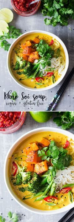 This aromatic thai soup inspired by a classic khaosoi soup, is spicy, warming and filling. Khao Soi, Raw Food Recipes, Healthy Recipes, Food To Make, Seafood, Soup, Tasty, Food And Drink, Vegan