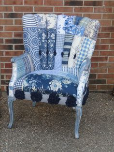 Upholstered patchwork channel back chair, The Blue Peony. $435.00, via Etsy.