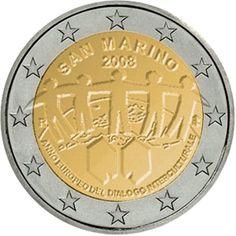 Erikoiseurot San Marino 2 € Republic Of San Marino, Money Notes, Euro Coins, Valuable Coins, Commemorative Coins, World Coins, Badges, Stamps, Europe