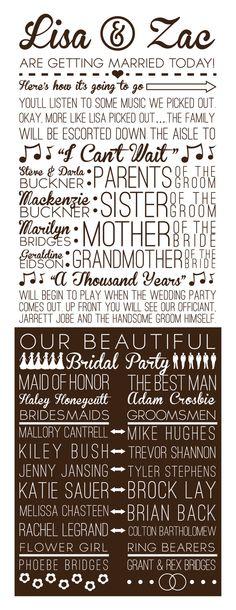 Fun Multi-Font Wedding Program @Kaitlyn Mattson Mattson Watson Bell love these! but maybe dark purple instead of black?