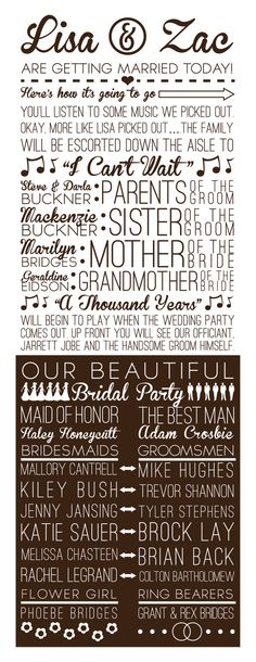 Fun Multi-Font Wedding Program