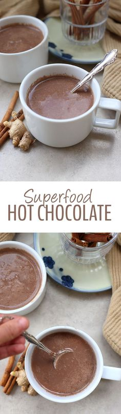 Superfood Hot Chocolate ~ Packed-full of immune-boosting, antioxidant-filled ingredients that make for one heck of cup of hot cocoa! From coconut, to turmeric and the sweetness of raw honey, this is a hot chocolate recipe you can feel good about drinking!