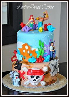 Little Mermaid and Pirate's Caribbean - This cake was for a brother and sister. I love combined cakes!