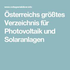 Österreichs größtes Verzeichnis für Photovoltaik und Solaranlagen