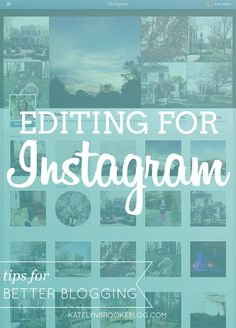 Editing for Instagram...unfortunately the two apps mentioned are iPhone only, but Afterlight is coming to Android in 2014.