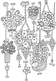 Flowering hanging baskets coloring page Pattern Coloring Pages, Free Adult Coloring Pages, Cute Coloring Pages, Coloring Pages To Print, Printable Coloring Pages, Coloring Sheets, Coloring Books, Hand Embroidery Designs, Embroidery Patterns