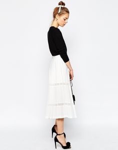 Image 1 of ASOS Premium Pleated Culottes with Sheer Inserts