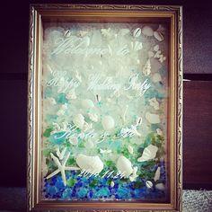シーグラスと貝殻のウェルカムボード