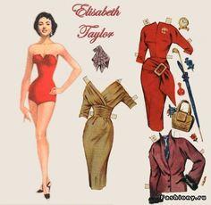 Elizabeth Taylor <> RUSSIAN  Куклы-знаменитости из бумаги / ENGLISH Celebrity Paper Doll 1 of 2